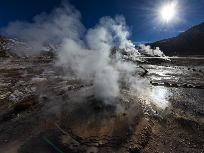 WANDER AROUND EL TATIO GEYSERS, CHILE Rise early for a sunrise tour of El Tatio Geysers in Chile. With a soundtrack of gurgling geysers and hissing gases, watch plumes of smoke erupt from more than 80 vents. Most tours leave around 4am from San Pedro de Atacama. Bring a warm jacket – temperatures are below freezing.