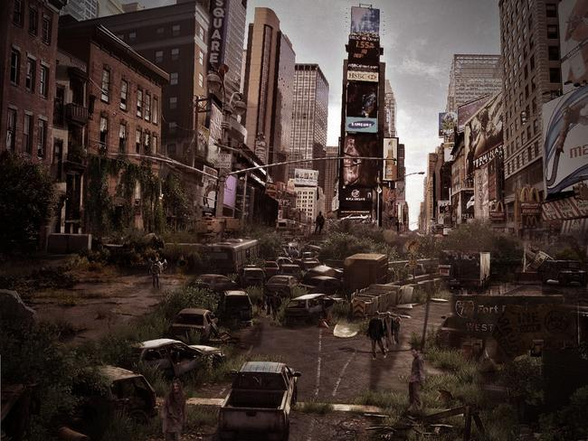 How iconic landmarks might look after a zombie apocalypse. Times Square. Picture: DesignCrowd.com.au