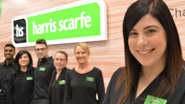 Marissa Tesoro, store manager of Harris Scarfe Top Ryde, with the store team. Picture: Benedict Brook