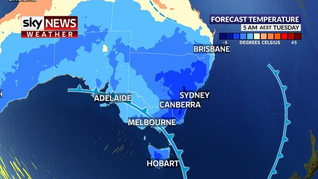 NSW shivered through record breaking cold weather last night. Picture: Sky News weather