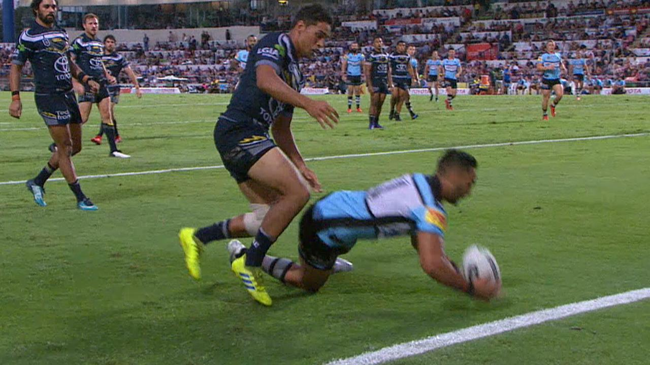 Briton Nikora touches down for Cronulla after catching Te Maire Martin napping.