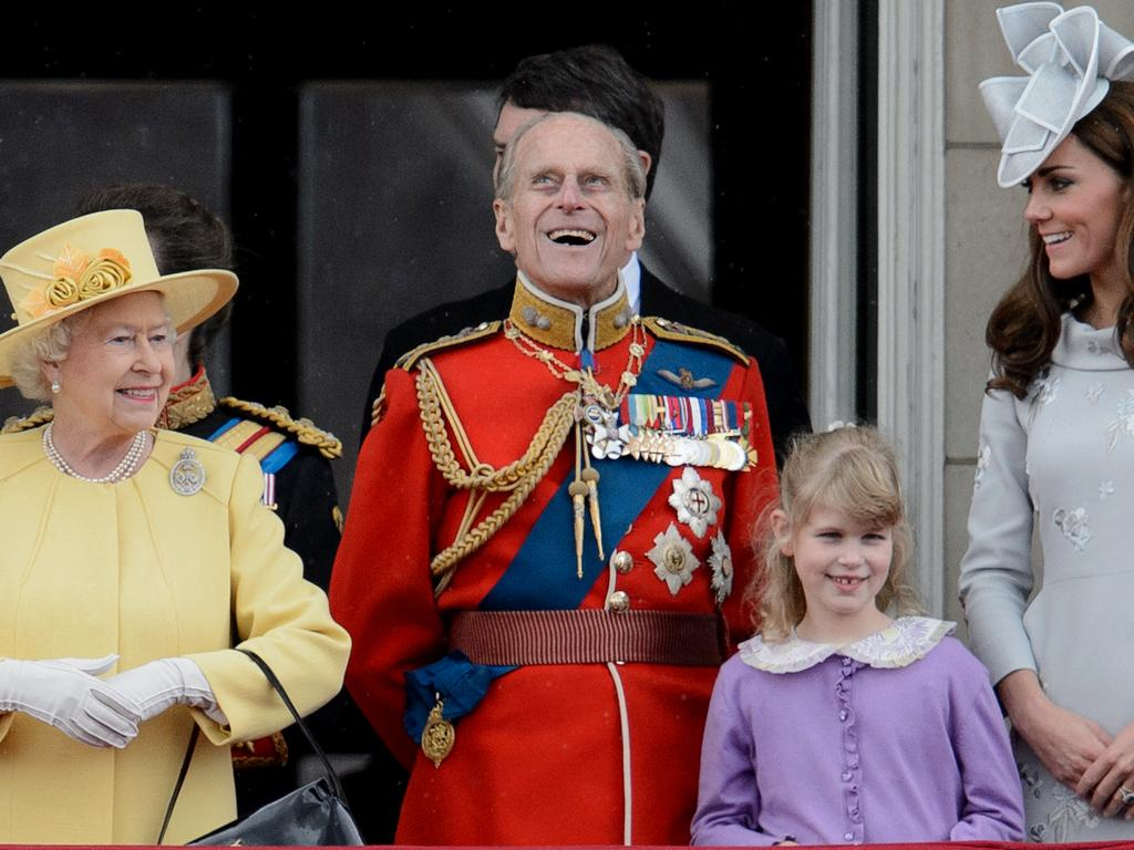 The Queen with Prince Philip, Lady Louise Windsor and Catherine, Duchess of Cambridge. Picture: AFP