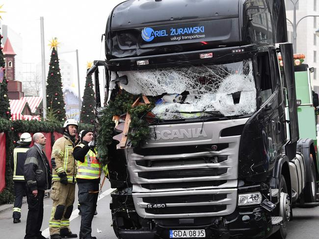 The truck that crashed into a Christmas market at Gedächtniskirche church in Berlin last year. Picture: AFP