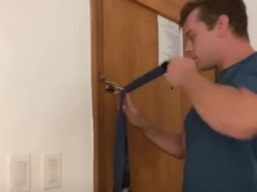 Robin demonstrates how you can keep your hotel room securely locked. Picture: dutchintheUSA