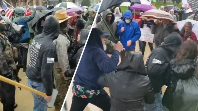 Fight breaks out during Michigan lockdown protest