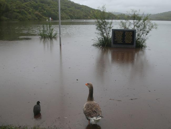 The east coast low continues to batter NSW Manly dam above North Manly is causing local flooding. Pic John Grainger