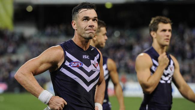 Ryan Crowley returned to training with the Fremantle main group on Friday after suffering lower back tightness. Picture: Daniel Wilkins