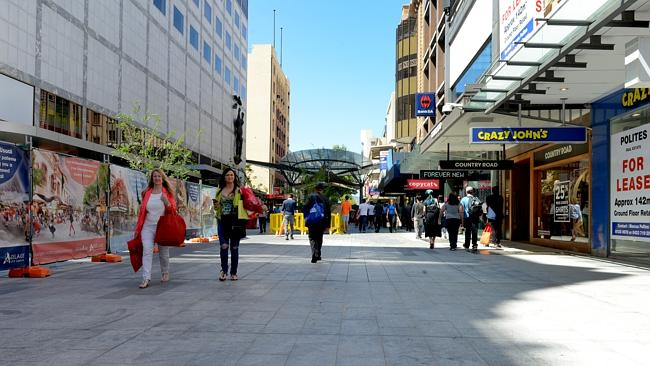 The western end of Rundle Mall being upgraded last year ... council is now hoping to doub