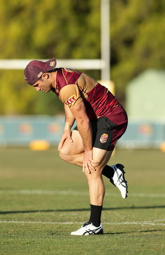Cooper Cronk injured his ankle at Maroons training. Picture: Peter Wallis