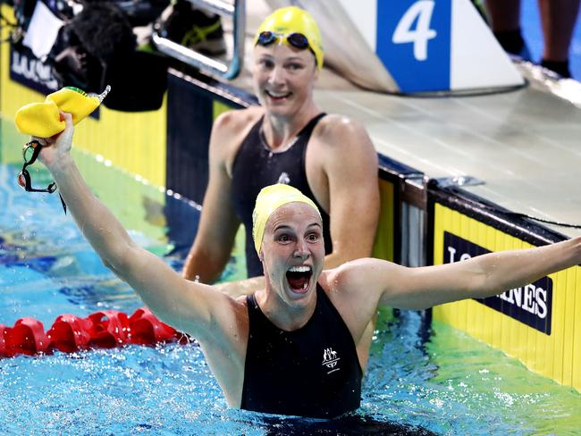 Bronte Campbell celebrates victory over sister Cate in the Women's 100m Freestyle Final. Picture: Hannah Peters/Getty Images