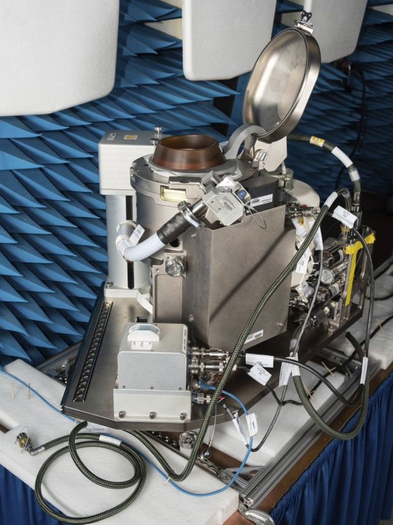This December 2019 photo made available by NASA shows the Universal Waste Management System (UWMS), a new space toilet. The device is scheduled to be delivered to the International Space Station on Oct. 1, 2020. (James Blair/NASA via AP)