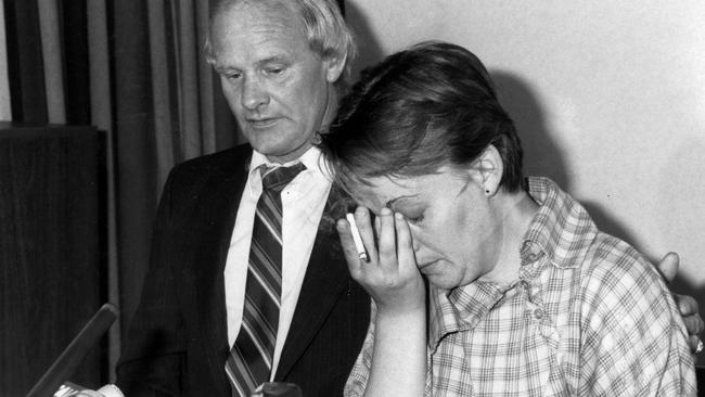 Julie Maybury during a press conference in 1984.