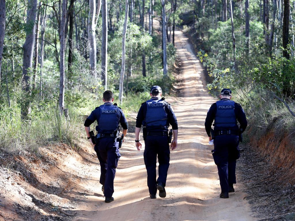 Police on Wallers Road leading to the property of gunman Ricky Maddison who murdered policeman Senior Constable Brett Forte. Pic Darren England
