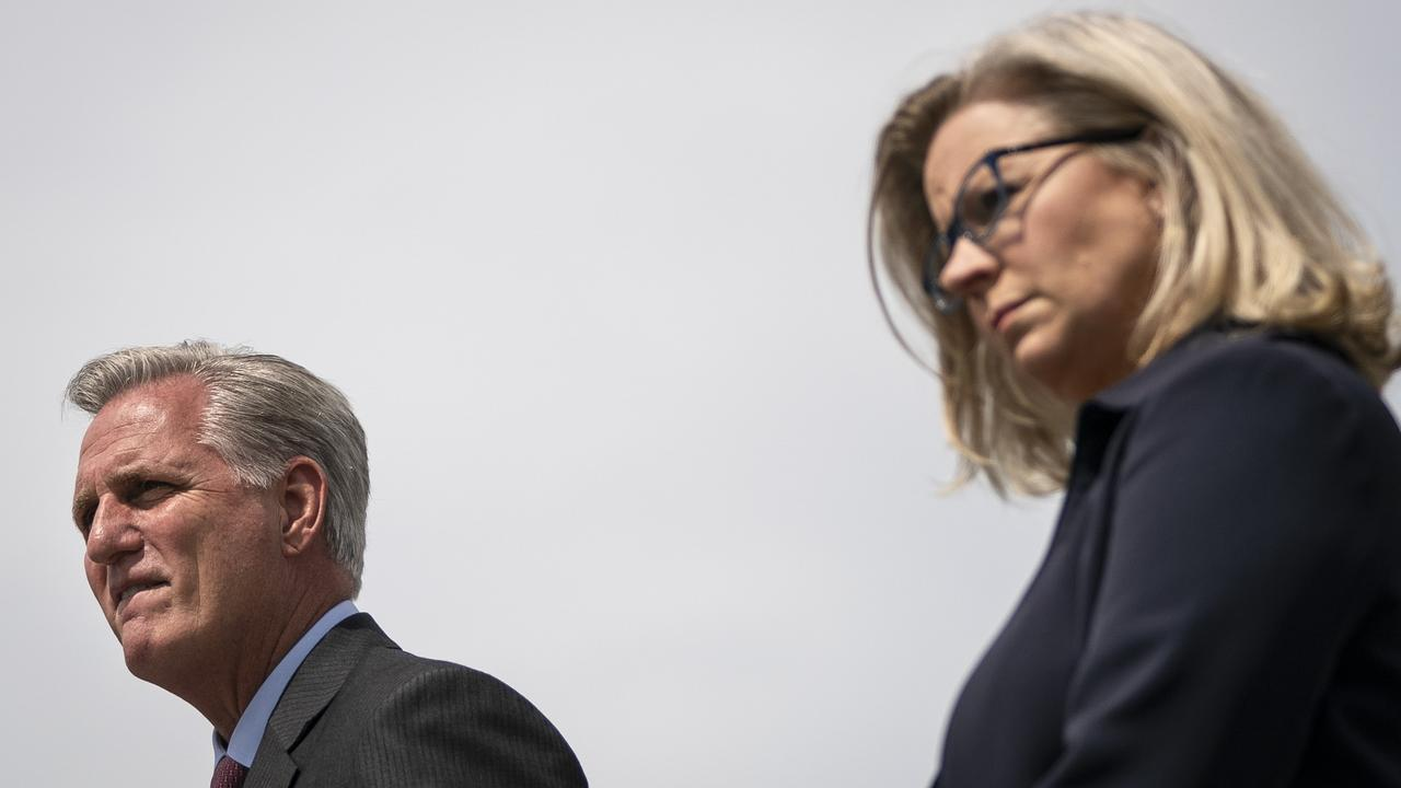 Kevin McCarthy and Liz Cheney. Picture: Drew Angerer/Getty Images/AFP