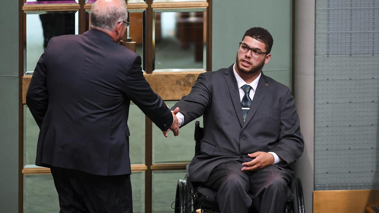 The moment Scott Morrison shook Jordon Steele-John's hand as he left the House. Picture: AAP