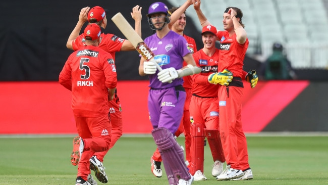 MELBOURNE, AUSTRALIA - JANUARY 26: Zak Evans of the Renegades celebrates after dismissing Riley Meredith of the Hurricanes during the Big Bash League match between the Melbourne Renegades and Hobart Hurricanes at Melbourne Cricket Ground, on January 26, 2021, in Melbourne, Australia. (Photo by Mike Owen/Getty Images)
