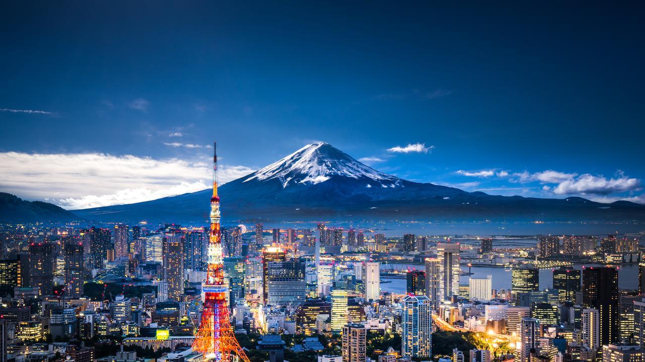 Mt Fuji and Tokyo skyline at dusk.