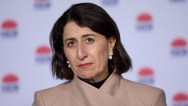 """Premier Gladys Berejiklian has announced construction works will """"definitely"""" resume on July 31 but has given no date for a return to face to face learning. Picture: Brook Mitchell - Pool/Getty Images"""