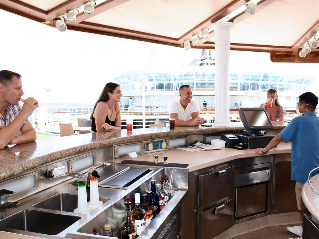 Guests socially distance on board Princess Cruises. Picture: Princess Cruises Health and Safety