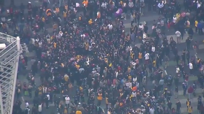 Kobe Bryant fans gather outside STAPLES Center in Los Angeles