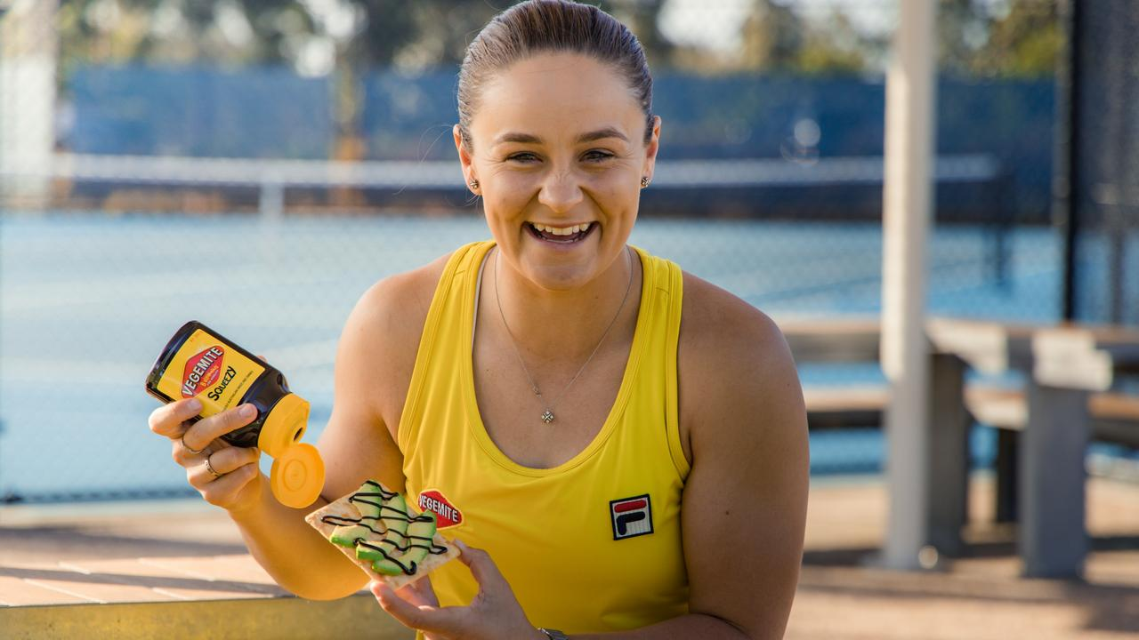 The company secured tennis great Ash Barty for the release of its new Vegemite Squeeze product. Picture: Supplied