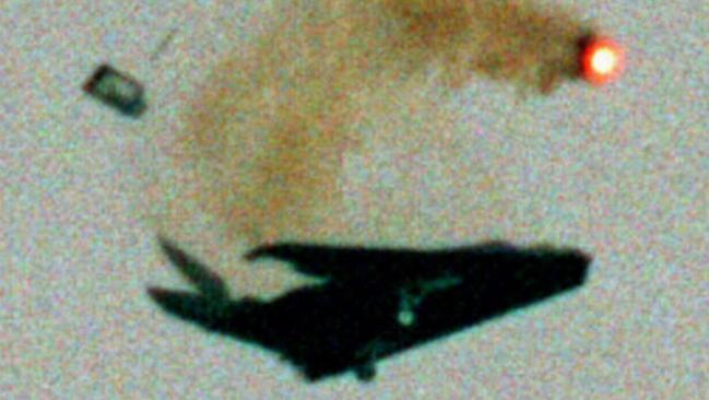A US Air Force F-117 Stealth fighter breaks apart in midair during the Chesapeake Air Show in 1997. At least one is back in service, at Area 51. Picture: AP