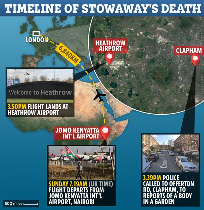 Timeline of stowaway's death in London. Picture: The Sun