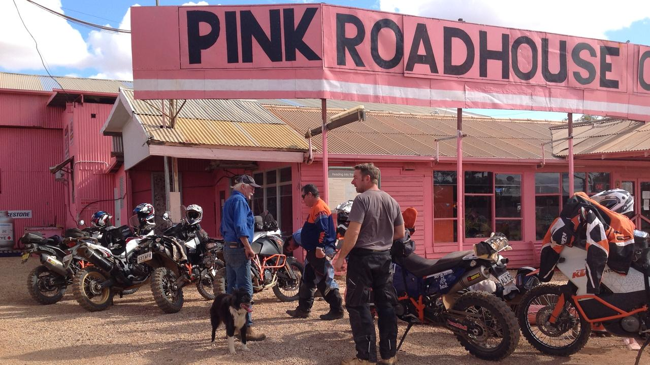 Oodnadatta's Pink Roadhouse. The town holds the record for hottest recorded temperature in Australia.