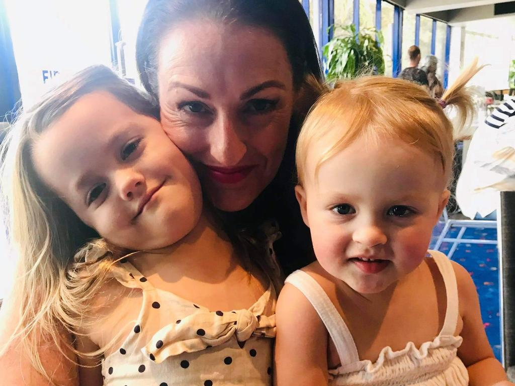 Ms Darcy-Frelford with her daughters Ayla, 6, and Indi, 2. Picture: Supplied