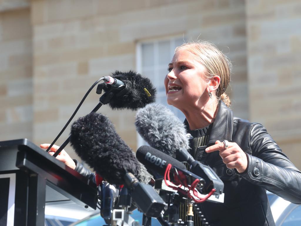 Grace Tame speaking at the rally in Hobart. Picture: Nikki Davis-Jones