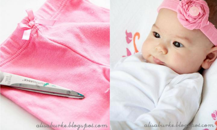 "Simple and stylish, you don't need to be a master seamstress to pull of this recycled baby headband.  <a href=""http://alisaburke.blogspot.com.au/2012/03/upcycled-baby-headbands.html?_sm_au_=iVV767HqfqTF1DVn"">Head to Alisa Burke's blog for full instructions</a>"