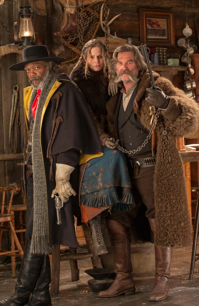 On set ... Samuel L. Jackson, Jennifer Jason Leigh and Kurt Russell in The Hateful Eight. Picture: Roadshow