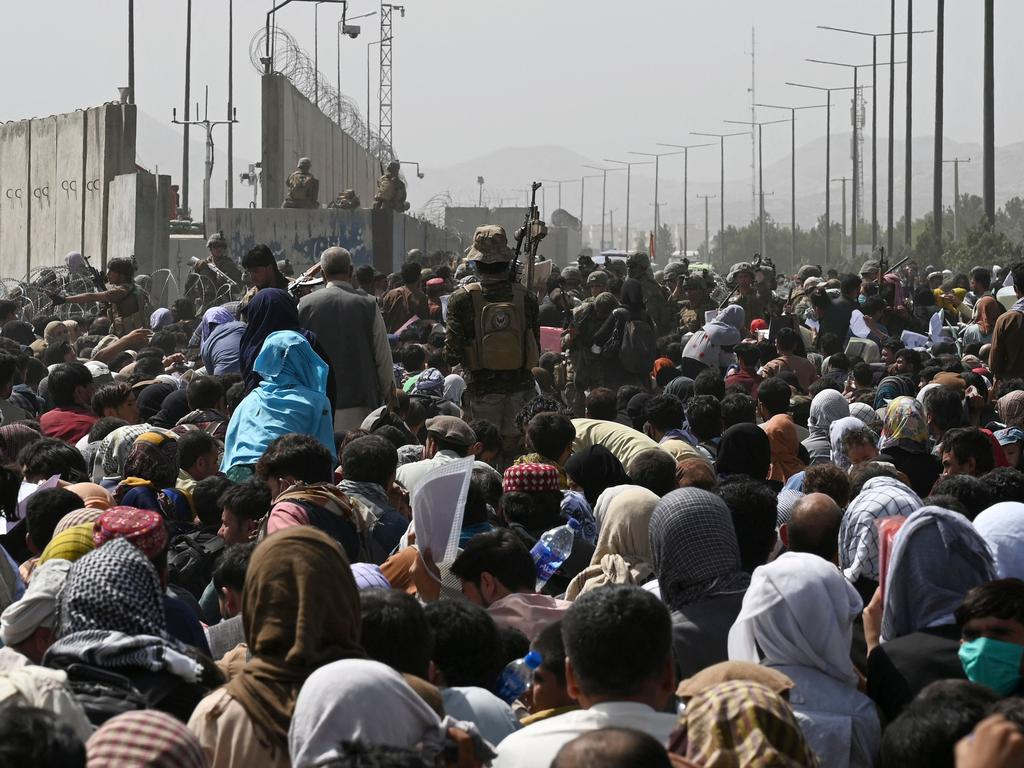 Thousands of people at the airport. Picture: Wakil Kohsar/AFP
