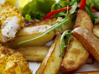 Fish and chips with up to 90% less fat. Picture: Philips
