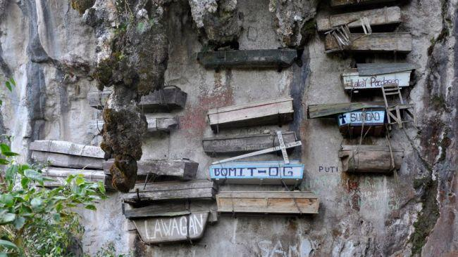 4/12Hanging coffins, Sagada, Philippines.Too bad if live in Sagada and you're afraid of heights. Years ago the people of this province decided not to bury their coffins, and instead suspend them off a cliff one above another. Originally, this was done to keep animals from getting to the bodies, but over time it has become a tradition. Picture: Getty