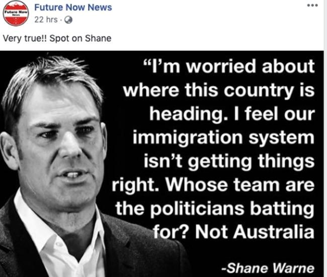 Social Media smear campaign targeting Shane Warne.