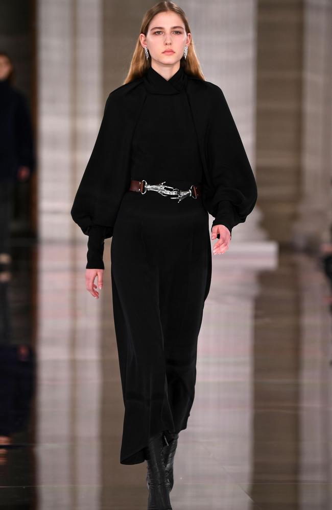 A belted look by Victoria Beckham. Picture: AFP