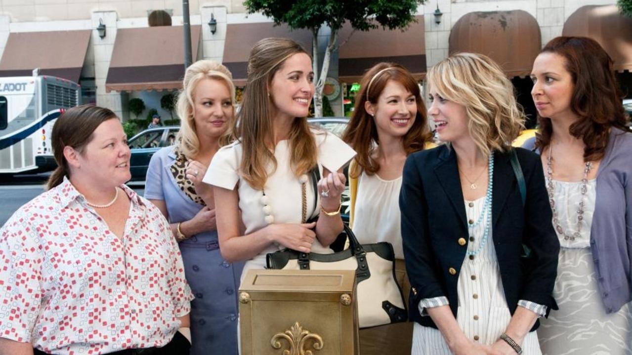 Melissa McCarthy, Wendi McLendon-Covey, Rose Byrne, Ellie Kemper, Kristen Wiig and Maya Rudolph in Bridesmaids.