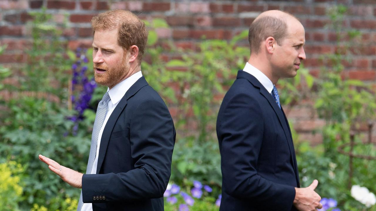 Prince Harry and Prince William attend the unveiling of a statue of their mother, Princess Diana at The Sunken Garden in Kensington Palace. (Photo by Dominic Lipinski / POOL / AFP)