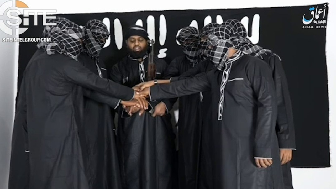 IS released a video showing the attackers pledging allegiance to Abu Bakr al-Baghdadi. Picture: SITE Intelligence Group