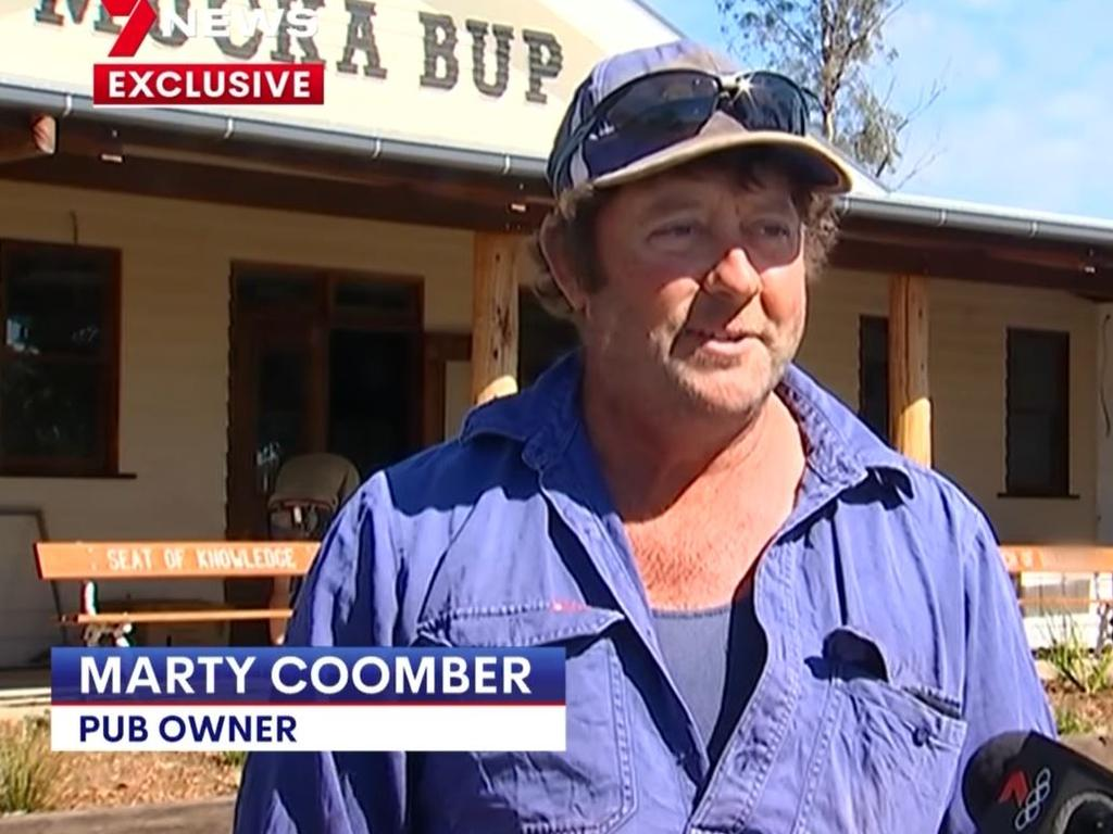 Farmer Marty Coomber has been rebuilding the local pub in Muckadilla, regional Queensland, since it burned down in 2019. Picture: Channel 7