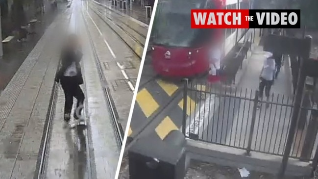 CCTV footage of near misses with pedestrians and trams