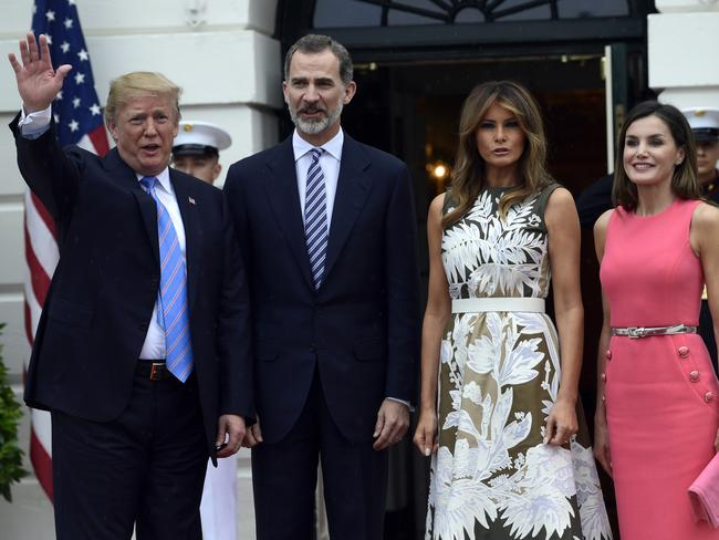 Donald and Melania Trump met with Spain's King Felipe and Queen Letizia, at the White House overnight. Picture: AP