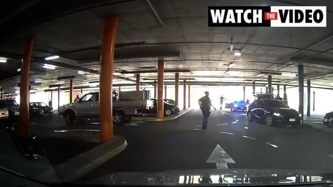 Dashcam footage of car ram in Brisbane car park