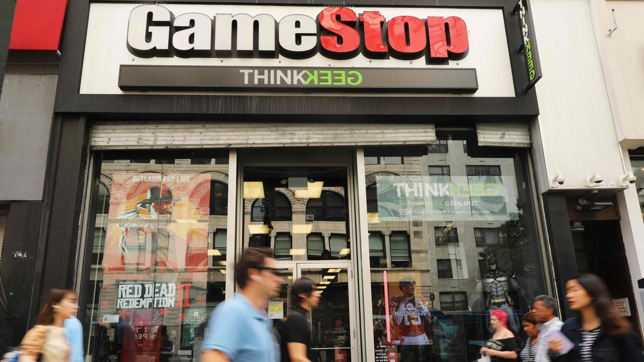 GameStop continues its wild Wall Street ride with a dizzying climb seemingly powered by online chatter about the struggling video game retailer with a devoted fan base. Picture: Spencer Platt / Getty Images North America / AFP