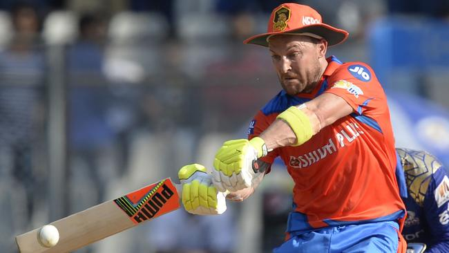 Gujarat Lions cricketer Brendon McCullum plays a shot during the 2017 Indian Premier League (IPL) Twenty20 cricket match between Mumbai Indians and Gujarat Lions at The Wankhede Stadium in Mumbai on April 16, 2017. ------IMAGE RESTRICTED TO EDITORIAL USE - STRICTLY NO COMMERCIAL USE----- / GETTYOUT------ / AFP PHOTO / PUNIT PARANJPE / ----IMAGE RESTRICTED TO EDITORIAL USE - STRICTLY NO COMMERCIAL USE----- / GETTYOUT