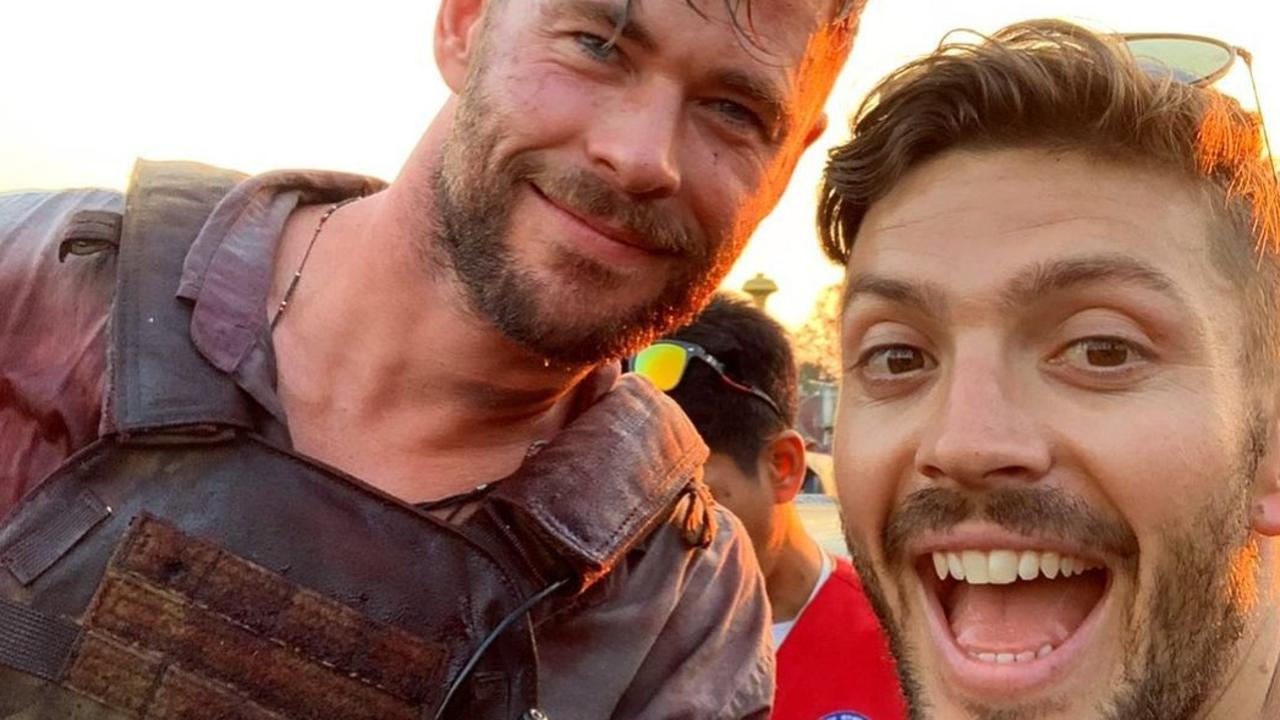 Hemsworth with personal trainer Luke Zocchi. Picture: Instagram