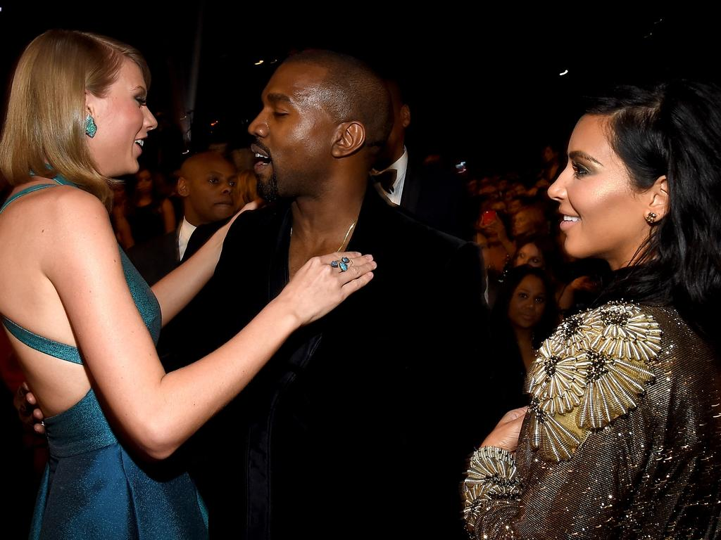 Taylor Swift, Kanye West and Kim Kardashian at the Grammy Awards in 2015. Picture: Getty
