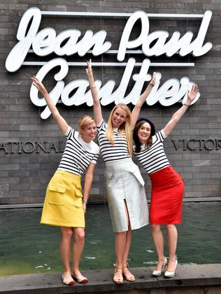 Jean Paul Gaultier fans Angela Martin, Louise Allan and Naomi Gash get a last look at the exhibition. Picture: Jay Town