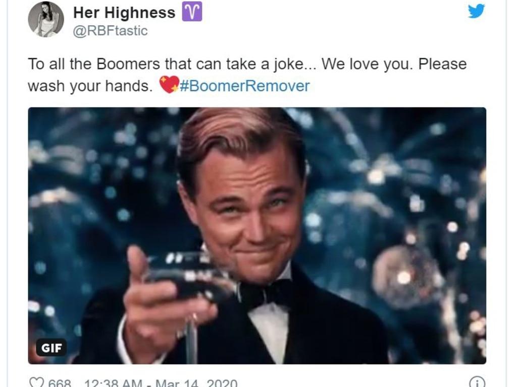 Millennials new hashtag for coronavirus is #BoomerRemover.